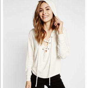 Express white lace up sweatshirt